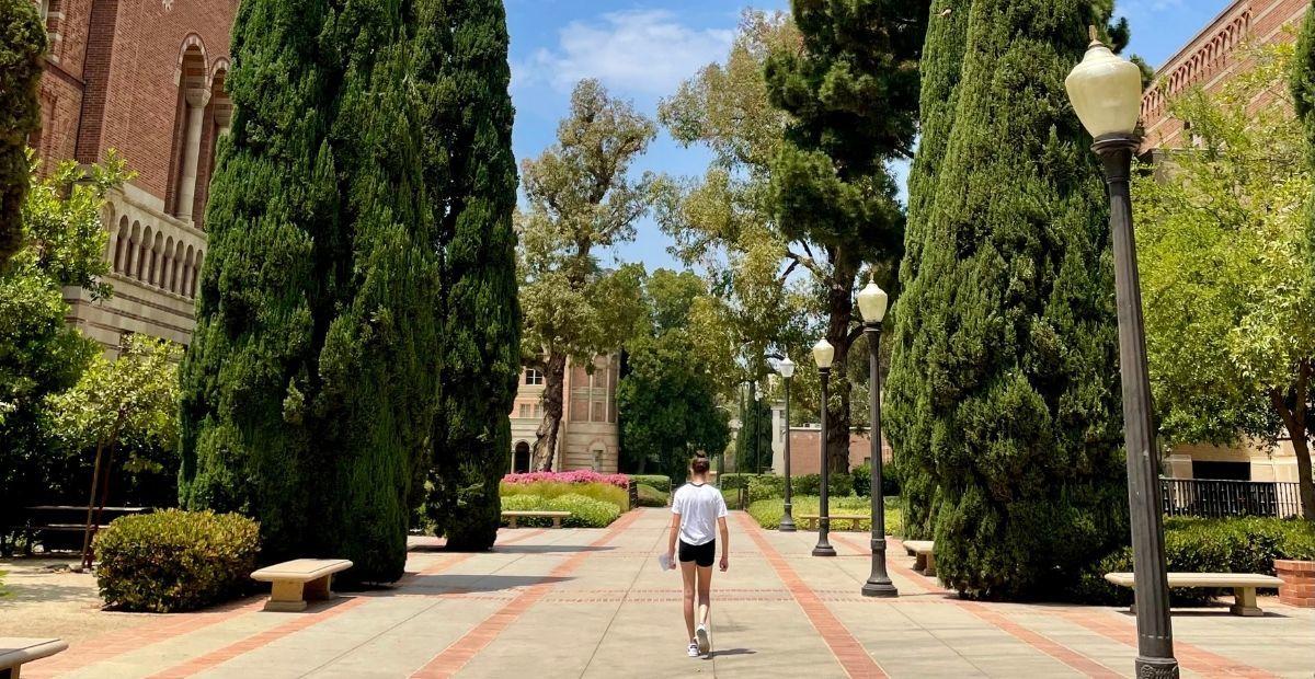 Girl walking down UCLA path