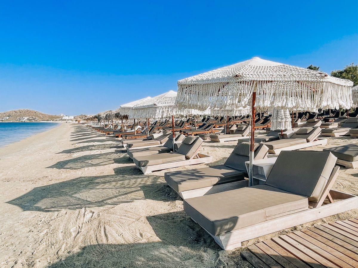 beach lounge chairs and umbrellas on Agios Prokopios beach