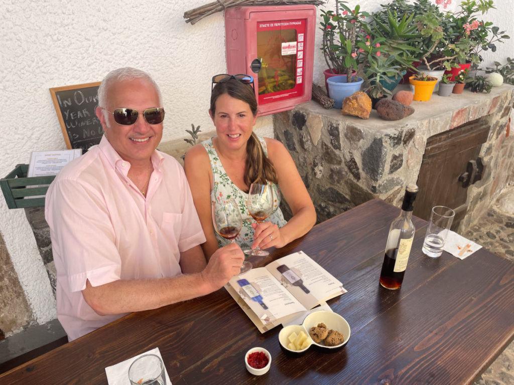 Couple at wine tasting at Gravalas winery