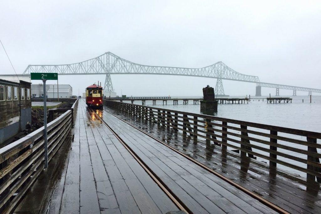 Bridge over water and tram car in Astoria Oregon