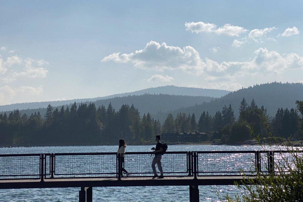 Couple of bridge overlooking Lake Tahoe
