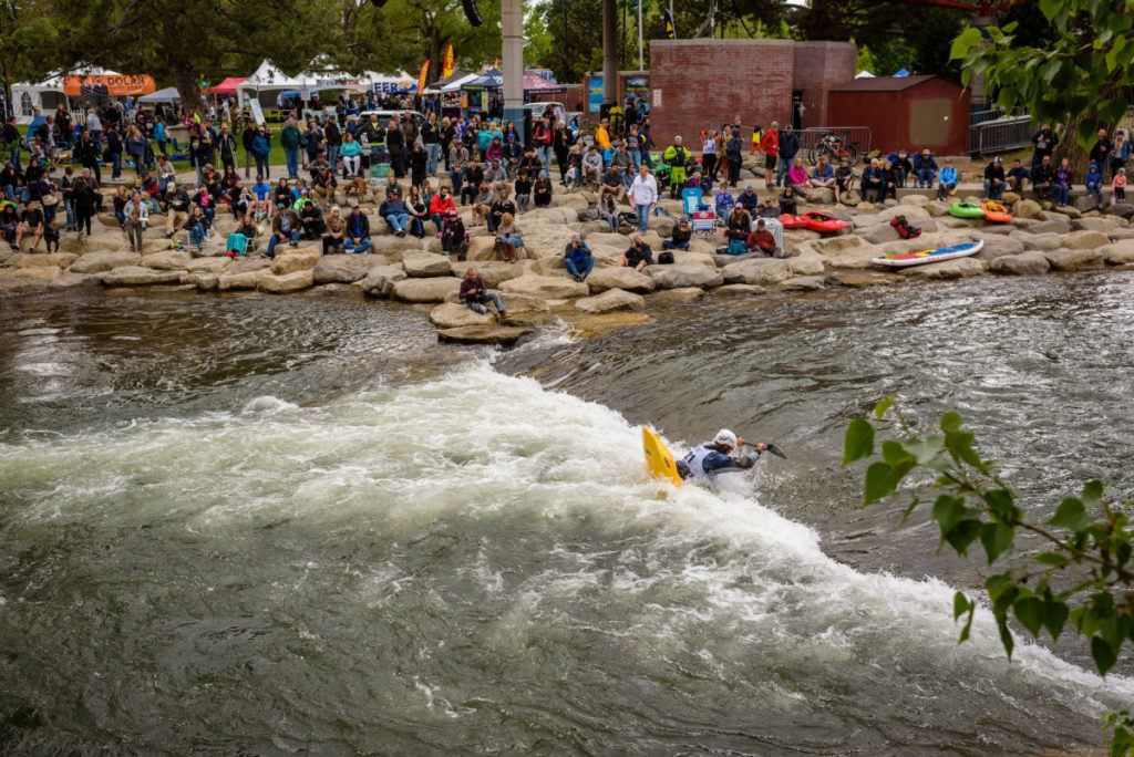 Kayakers in the river at the Reno River Festival