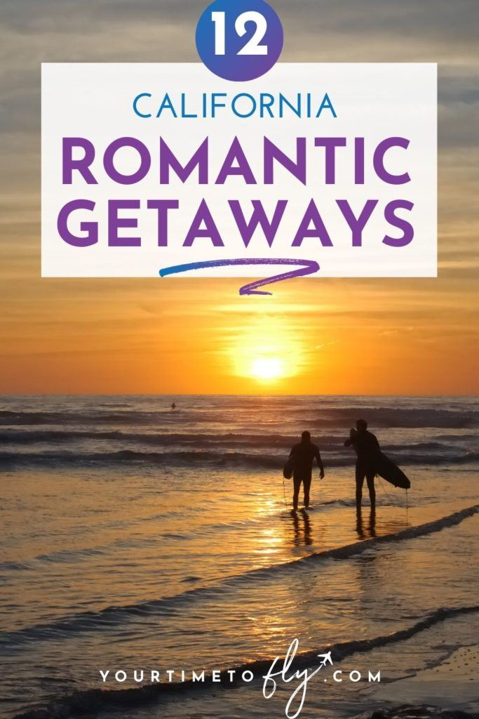 12 California Romantic Getaways with a couple holding surfboards on the beach at sunset