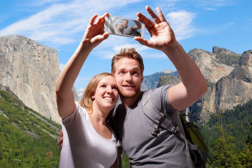 Couple taking selfie in Yosemite