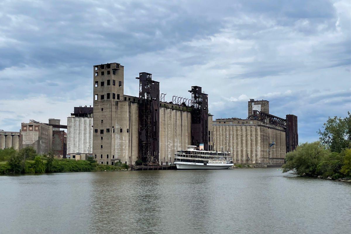 Grain silos on the Buffalo river