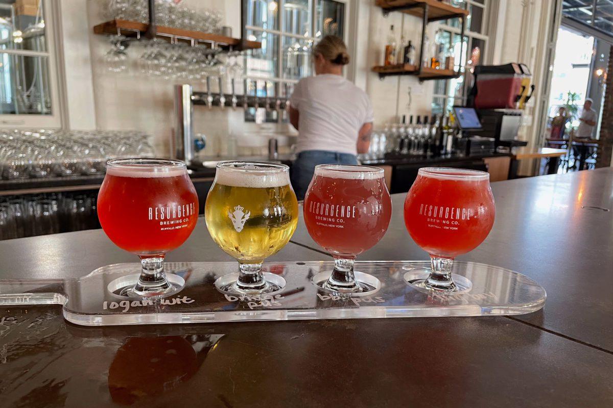 Beer flight at Resurgence Brewing Co.